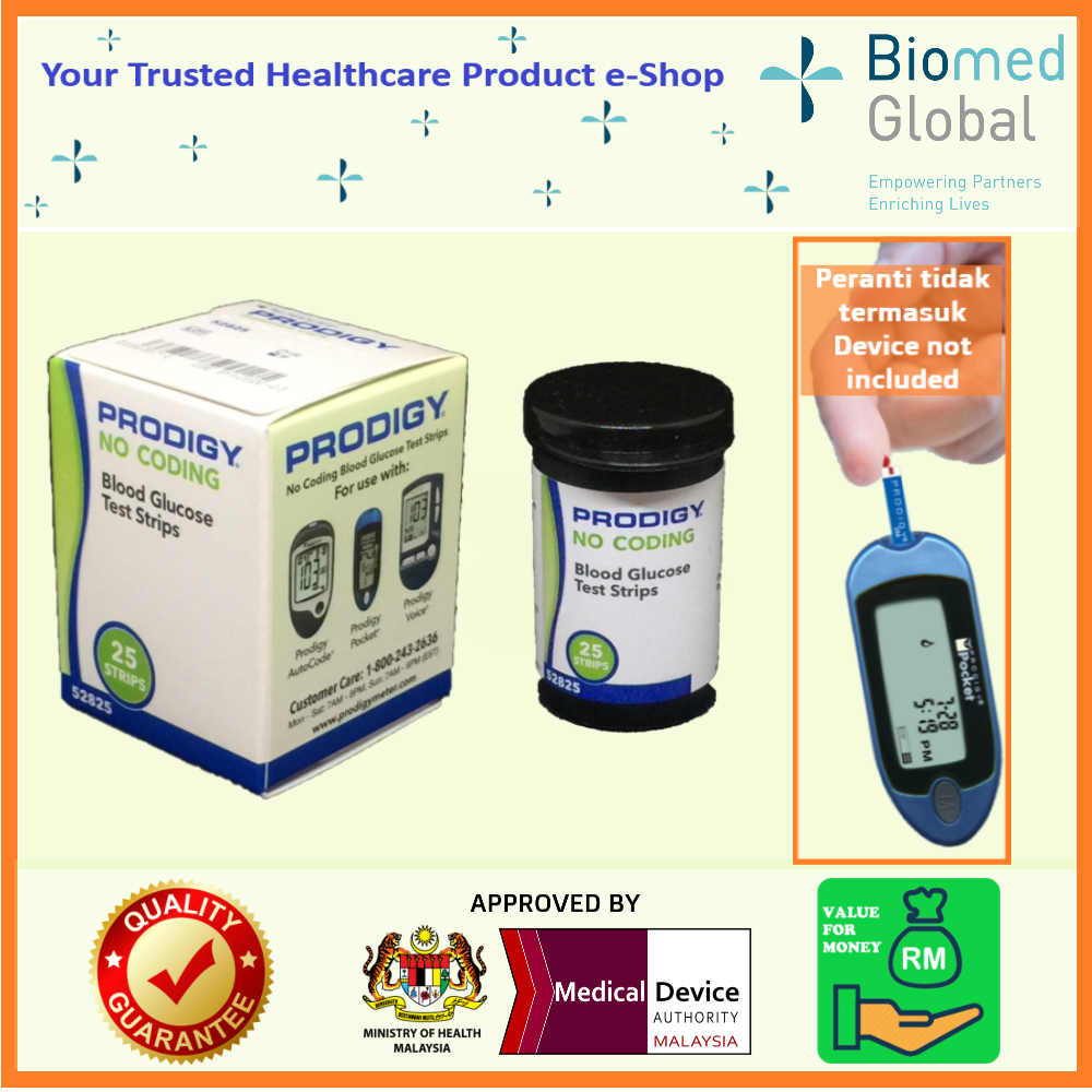 Prodigy Pocket Blood Glucose Meter, Free with 25 Test Strips (Approved By Malaysia Medical Device Authority) (PROMO VALUE PACK)