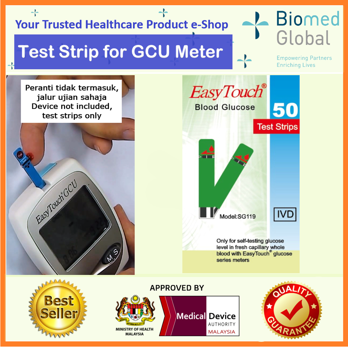 Easytouch GCU Glucose Test Strips, 50 Strips/Box, FREE with 50's Blood Lancet & Alcohol Swab (BUNDLE PACK)