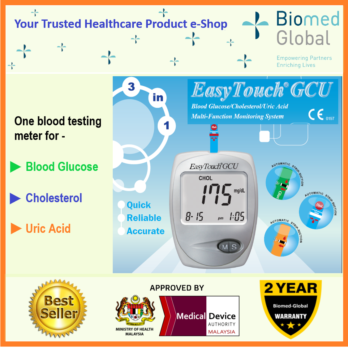 EasyTouch GCU 3-in-1 Blood Glucose, Cholesterol and Uric Acid Meter, FREE with 10 Cholesterol Test Strips (BUNDLE PACK)