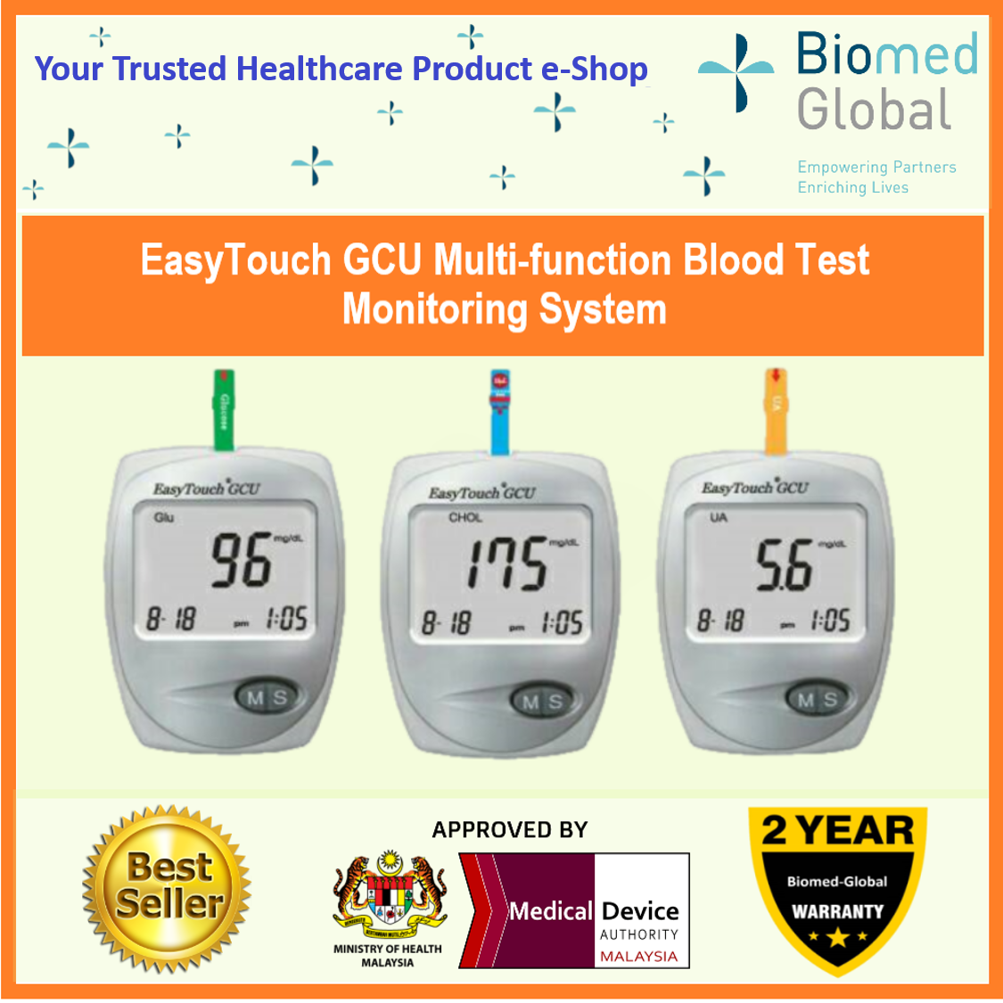 EasyTouch GCU 3-in-1 Blood Glucose, Cholesterol and Uric Acid Meter, FREE with 25 Cholesterol Test Strips (BUNDLE PACK)