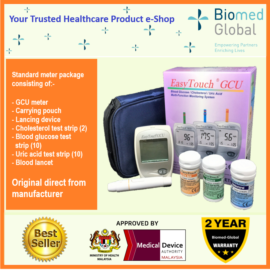 EasyTouch GCU 3-in-1 Blood Glucose, Cholesterol and Uric Acid Meter (Approved by Malaysia Medical Device Authority)