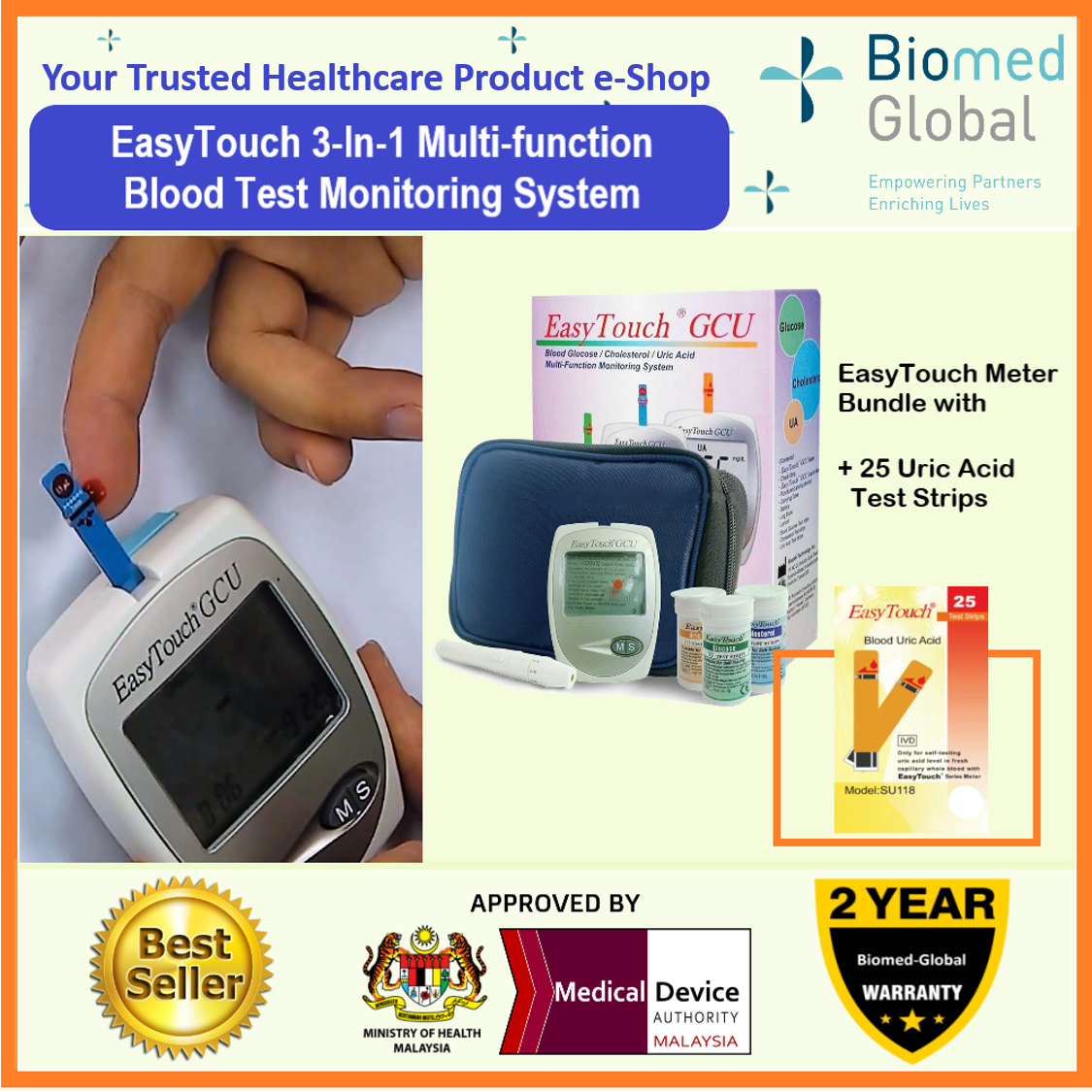 EasyTouch GCU 3-in-1 Blood Glucose, Cholesterol and Uric Acid Meter, FREE with 25 Uric Acid Test Strips (BUNDLE PACK)