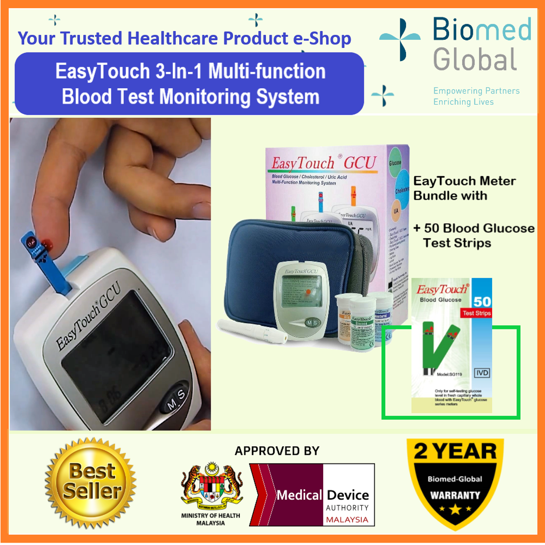 EasyTouch GCU 3-in-1 Blood Glucose, Cholesterol and Uric Acid Meter, FREE with 50 Blood Glucose Test Strips (BUNDLE PACK)