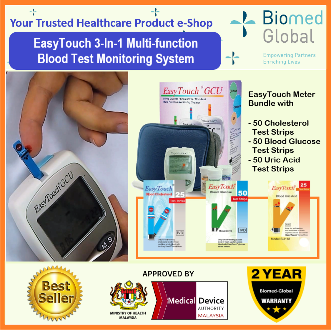 EasyTouch GCU 3-in-1 Blood Glucose, Cholesterol and Uric Acid Meter , FREE with 50 Test Strips Each for Cholesterol, glucose &Uric Acid Test (BUNDLE PACK)