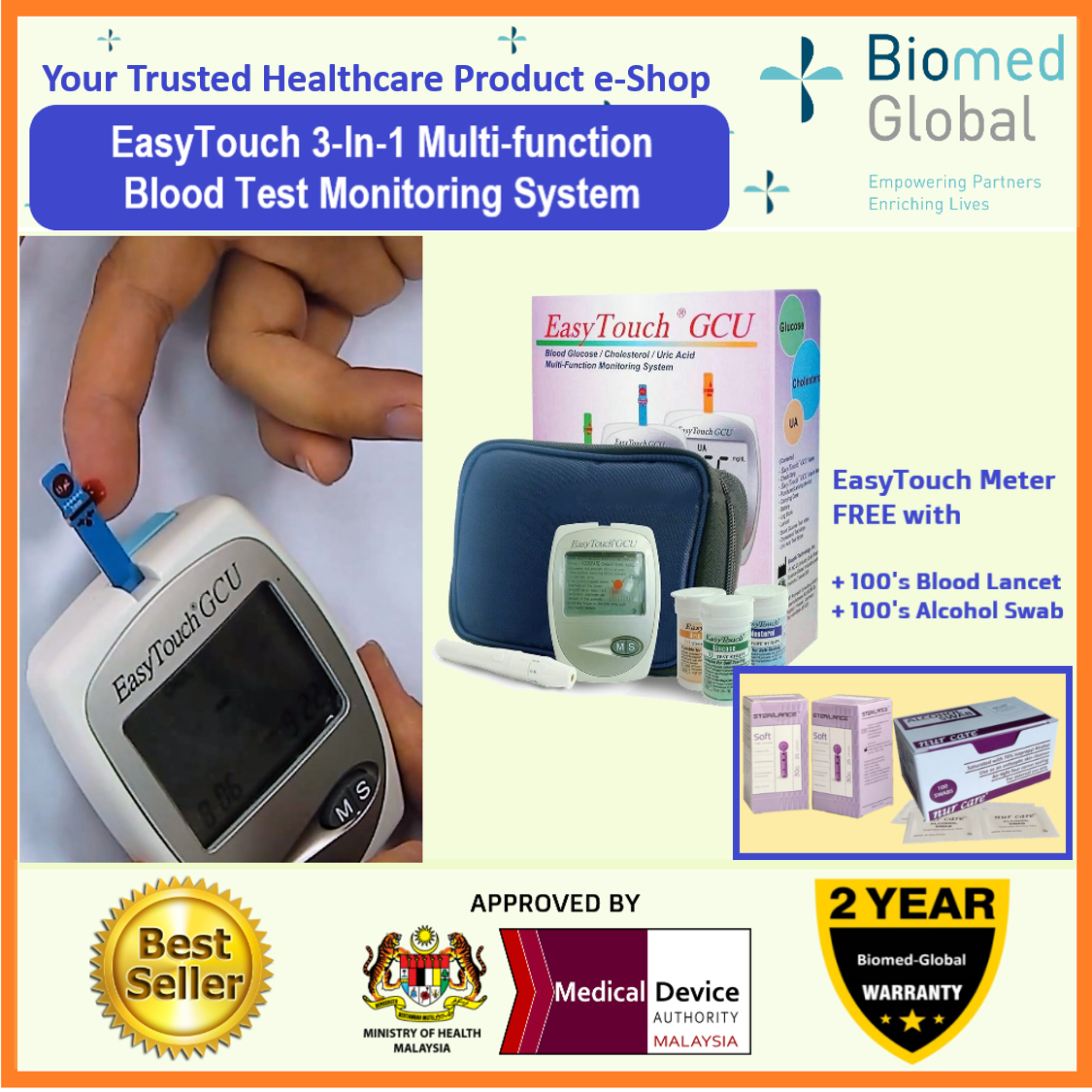 EasyTouch GCU 3-in-1 Blood Glucose, Cholesterol and Uric Acid Meter, FREE with 100's Blood Lancet & Alcohol Swab (BUNDLE PACK)