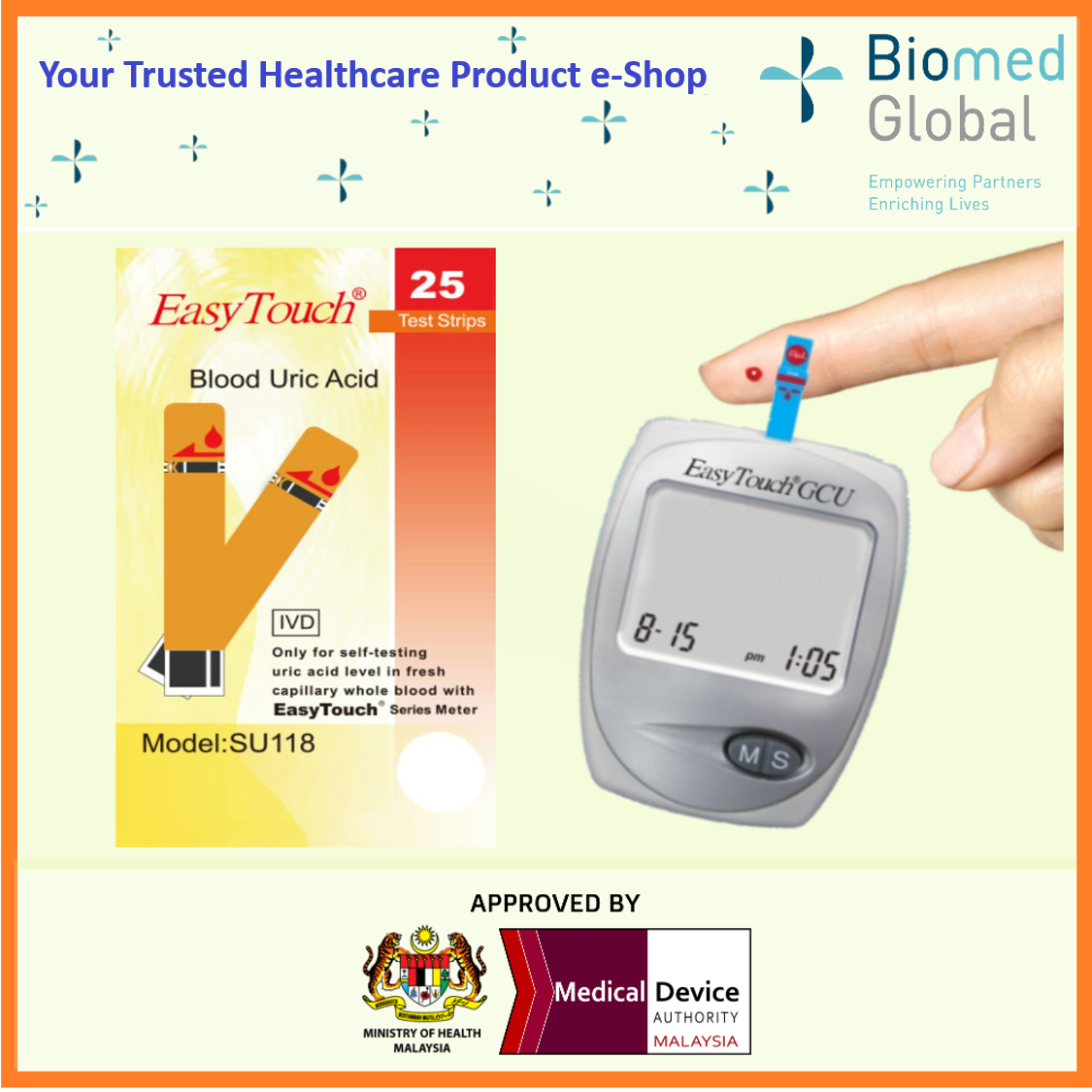 EZ2BUY PACKAGE - EasyTouch GCU 3-in-1 Blood Glucose, Cholesterol and Uric Acid Meter (Approved By Malaysia Medical Device Authority), BUNDLE with 50 Test Strips Each for Cholesterol, glucose &Uric Acid Test