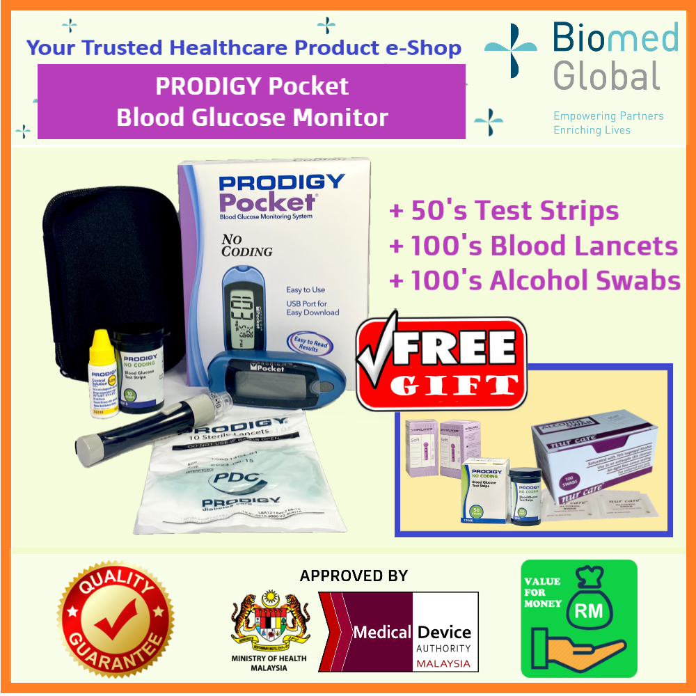 Prodigy Pocket Blood Glucose Meter (MDA APPROVED Medical Device), FREE with 50 Test Strips, Blood Lancet & Alcohol Swab