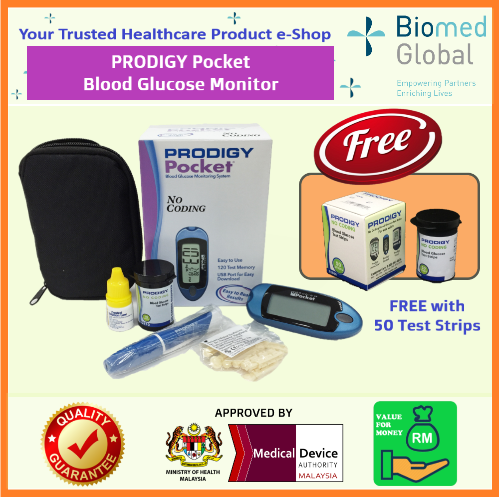 Prodigy Pocket Blood Glucose Meter, FREE with 50 Blood Glucose Test Strips (Approved By Malaysia Medical Device Authority) -PROMO VALUE PACK