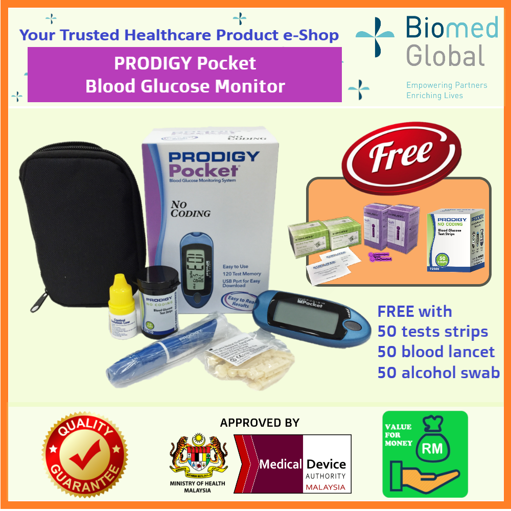 Prodigy Pocket Blood Glucose Meter (MDA APPROVED Medical Device), FREE with 100 Test Strips, Blood Lancet & Alcohol Swab (LIMITED TIME OFFER)