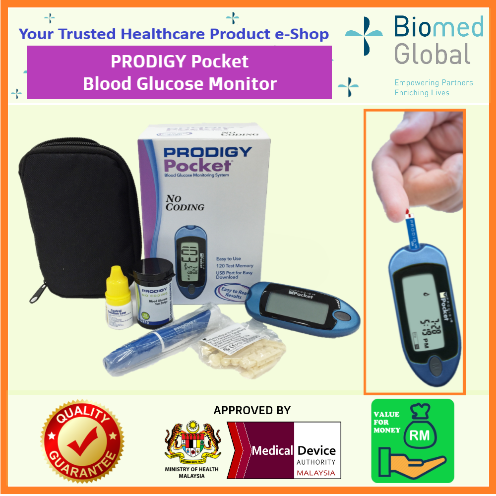 PRODIGY Blood Glucose Test Strips, 2x 50 Strips/Box - FREE BLOOD GLUCOSE METER (Approved By Malaysia Medical Device Authority) - PROMO VALUE PACK