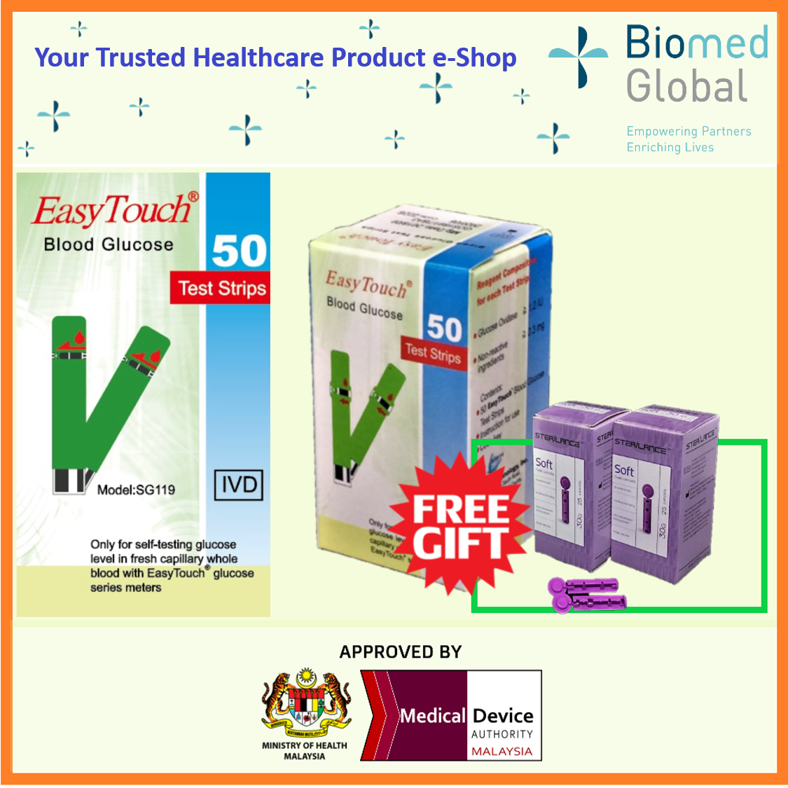 EZ2BUY PACKAGE - EasyTouch GCU Blood Glucose Test Strips, 50 Strips/Box, FREE with 50 Pieces Twist Lancet