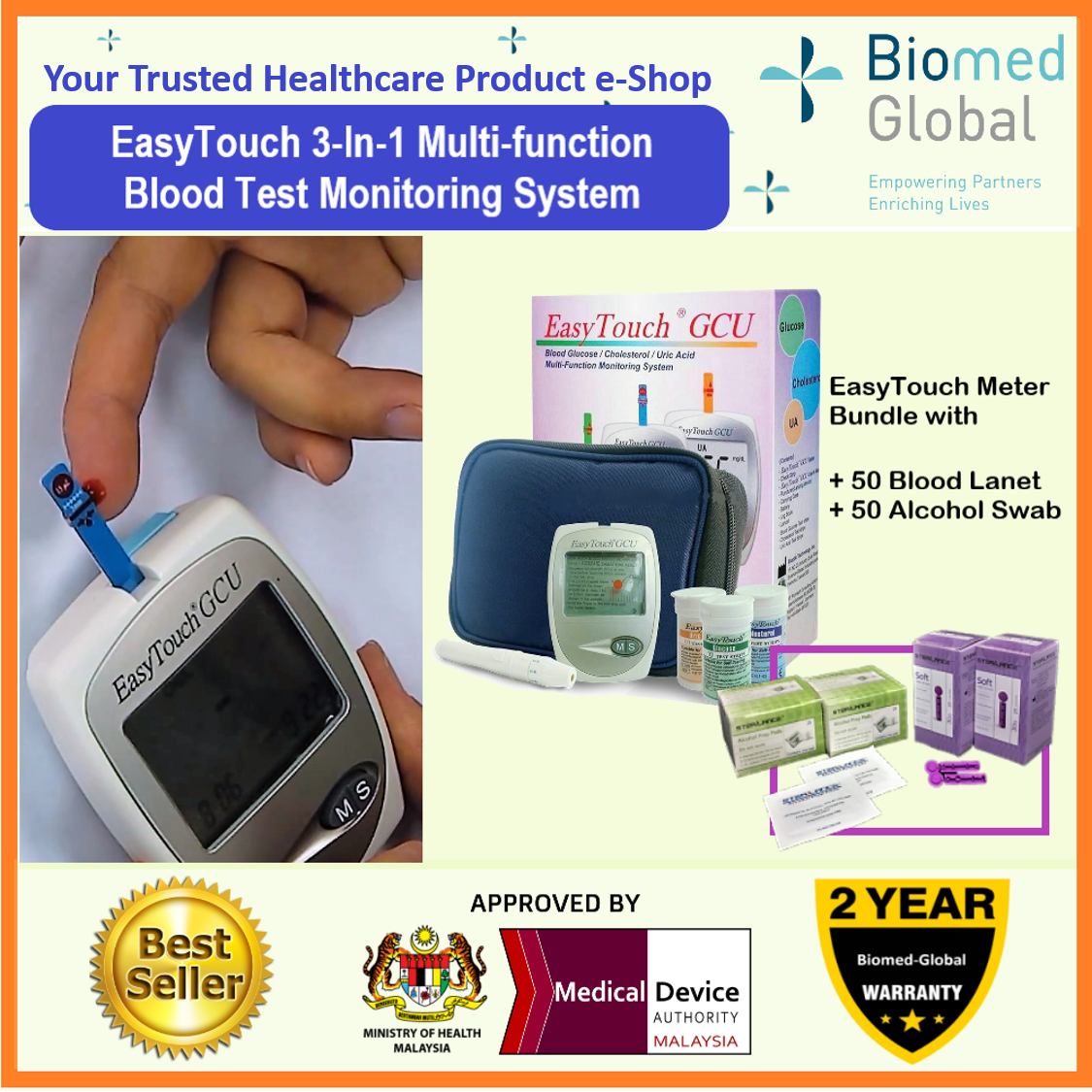 EasyTouch GCU 3-in-1 Blood Glucose, Cholesterol and Uric Acid Meter, FREE with Blood Lancet & Alcohol Swab (BUNDLE PACK)
