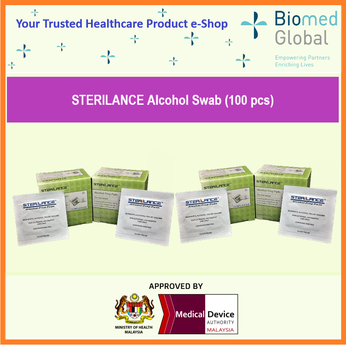 Biomed Global Sterilance Alcohol Swabs 100 Pieces 25 Pieces Box Pack Of 4 Boxes