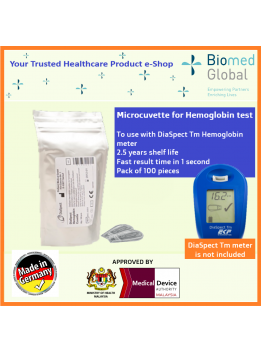 Hemoglobin Microcuvette, Use for Diaspect Tm Hemoglobin Meter, Pack of 100 Pieces (FOR HEALTHCARE PROFESSIONAL USE ONLY)