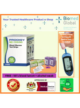 Prodigy Blood Glucose Test Strips, 50 Strips/Box, FREE with 50 Pieces Blood Lancet & 100 Pieces Alcohol Swab (BUNDLE PACK)