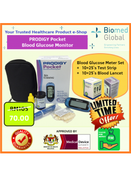 Prodigy Pocket Blood Glucose Meter + 25 Test Strips + 25 Blood Lancets (Approved By Malaysia Medical Device Authority) LIMITED TIME OFFER
