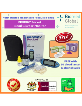 PRODIGY POCKET Blood Glucose Meter Set [MDA Approved Medical Device], FREE with 100's Blood Lancet & 100's Alcohol Swab (VALUE BUNDLE PACKAGE)