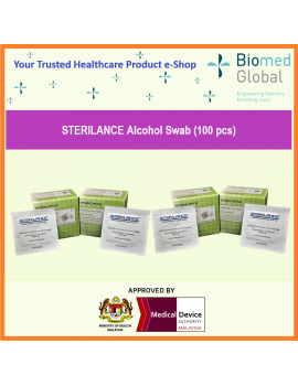 Sterilance Alcohol Swabs, 100 pieces, 25 pieces/box, Pack of 4 boxes